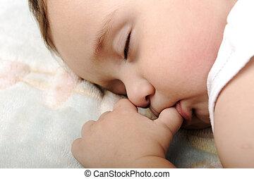 bebê, cute, pequeno, dormir