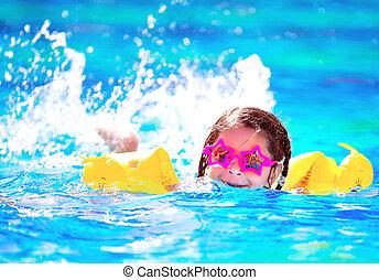 bebê, cute, pequeno, swiming, piscina