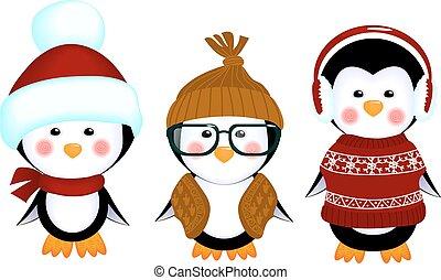 bebê, cute, pingüins, roupas