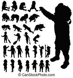 bebê, cute, posar, pretas, vetorial, silueta