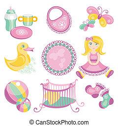 bebê, cute, produtos, ilustração