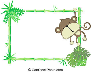 bebê, cute, quadro, macaco
