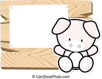 bebê, cute, quadro, porquinho