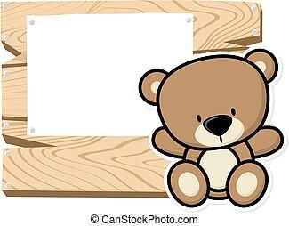 bebê, cute, quadro, urso
