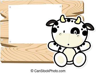 bebê, cute, quadro, vaca