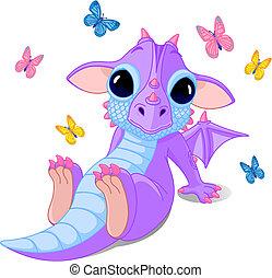 bebê, cute, sentando, dragão