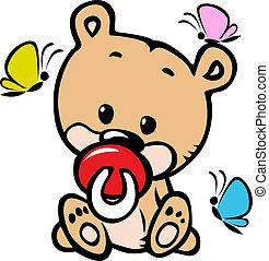 bebê, cute, urso, ilustração