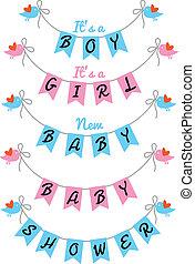 bebê, cute, vetorial, desenho, chuveiro