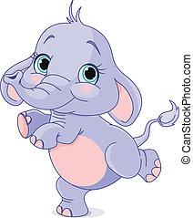 bebê, dançar, elefante