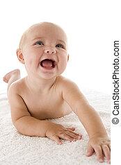 bebê, deitando-se, sorrindo