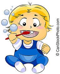 bebê, dentes escovando