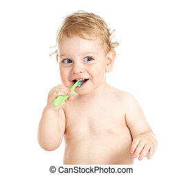 bebê, dentes escovando, feliz, criança