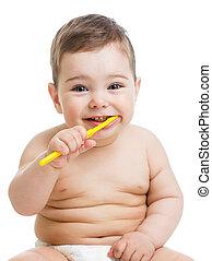 bebê, dentes limpando, e, sorrindo, isolado, branco, fundo