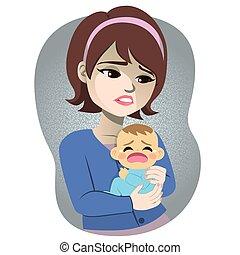 bebê, depressão, mulher, postpartum, chorando