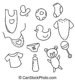 bebê, desenhado, mão, ícones