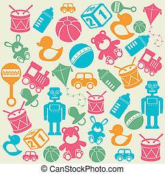 bebê, desenho, brinquedos