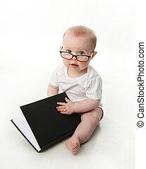 bebê, desgastar, óculos leitura