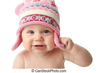 bebê, desgastar, chapéu, inverno