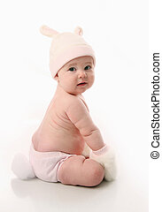 bebê, desgastar, coelhinho, traje