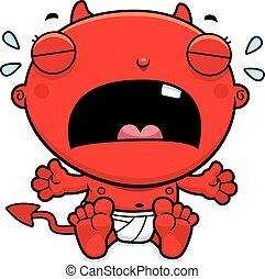 bebê, diabo, caricatura, chorando