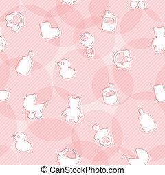 bebê, doce, padrão, seamless, itens