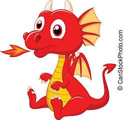 bebê, dragão, caricatura, cute