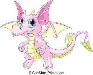 bebê, dragão, caricatura