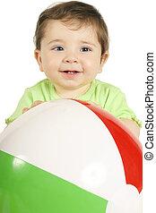 bebê, e, esfera praia