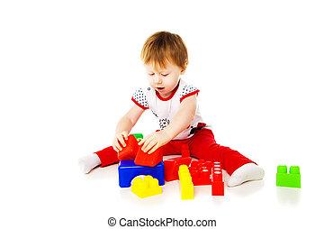 bebê, educacional, tocando, menina, brinquedos