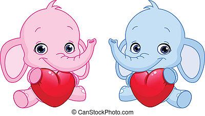 bebê, elefantes, segurando, corações