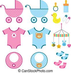bebê, elementos, jogo