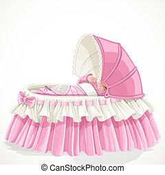 bebê, em, cor-de-rosa, berço