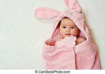 bebê, em, cor-de-rosa