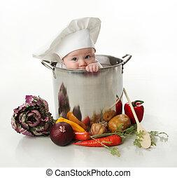 bebê, em, um, cozinhando potenciômetro
