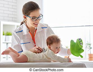 bebê, em, um, hospitalar