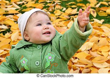 bebê, em, um, parque, em, outono