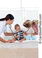 bebê, enfermeira, pediatra