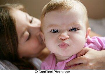 bebê, engraçado, menina, expressão, rosto