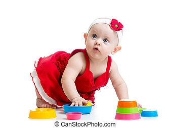 bebê, engraçado, tocando, brinquedos