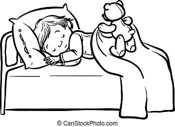 bebê, engraçado, vetorial, caricatura, dormir