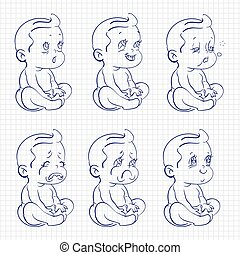 bebê, esboço, caneta esferográfica