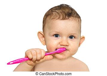 bebê, escovar, pequeno, seu, dentes