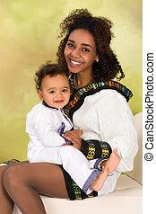 bebê, ethiopian, mãe
