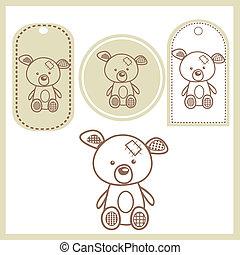 bebê, etiquetas, urso