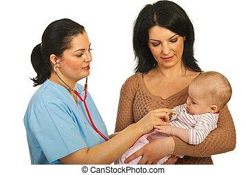 bebê, examine, doutor
