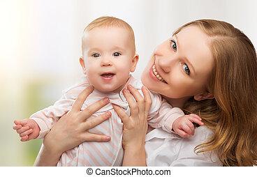 bebê, family., feliz, jovem, mãe