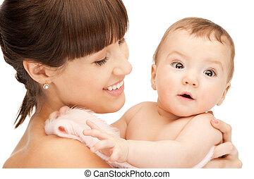 bebê, feliz, adorável, mãe