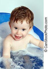 bebê, feliz, banho