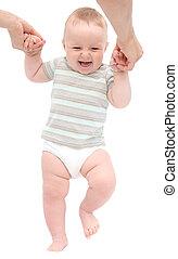 bebê, feliz, passos, primeiro