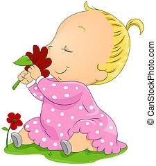 bebê, flor, cheirando